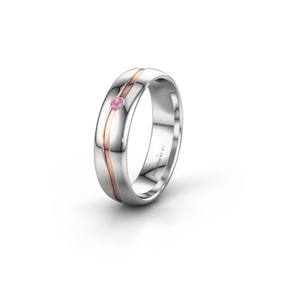 Wedding ring WH0905L35X 585 white gold pink sapphire ±5x1.7 mm
