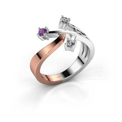 Ring Lillian 585 rosé goud amethist 2.5 mm