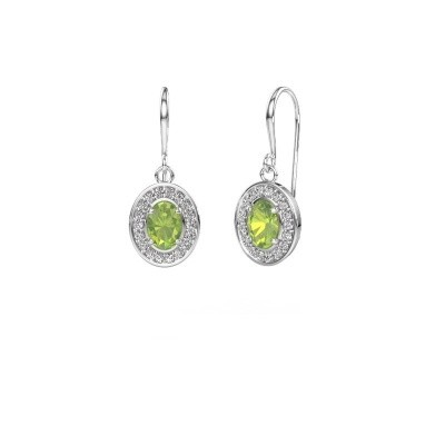 Picture of Drop earrings Layne 1 950 platinum peridot 6.5x4.5 mm