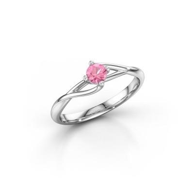 Foto van Verlovingsring Paulien 950 platina roze saffier 4 mm