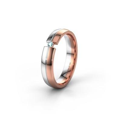 Trouwring WH0254L24X 585 rosé goud aquamarijn ±4x1.5 mm