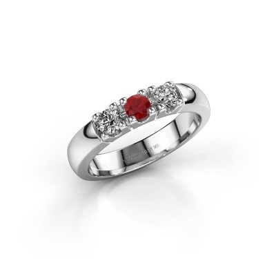Engagement ring Rianne 3 950 platinum ruby 3.4 mm