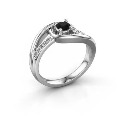 Ring Aylin 585 witgoud zwarte diamant 0.375 crt