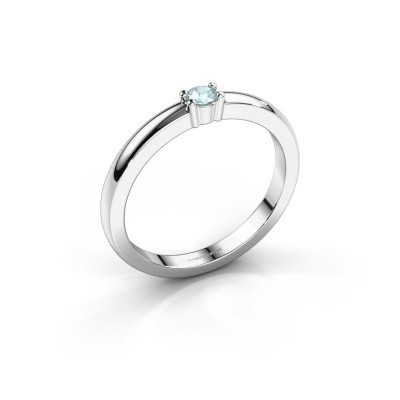 Foto van Promise ring Yasmin 1 585 witgoud aquamarijn 2.7 mm