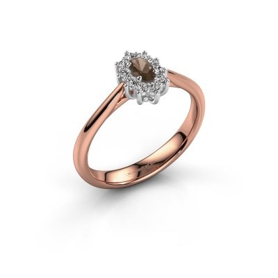 Picture of Engagement ring Leesa 1 585 rose gold smokey quartz 6x4 mm