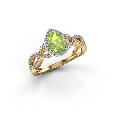 Engagement ring Dionne pear 585 gold peridot 7x5 mm