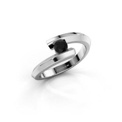 Ring Paulette 925 silver black diamond 0.18 crt
