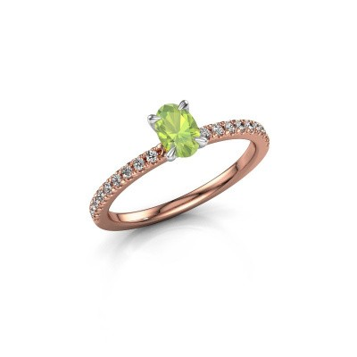 Picture of Engagement ring Crystal OVL 2 585 rose gold peridot 6x4 mm