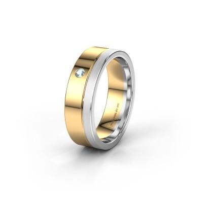 Trouwring WH0301L16APM 585 goud aquamarijn ±6x1.7 mm