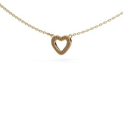 Hanger Heart 4 375 goud bruine diamant 0.055 crt