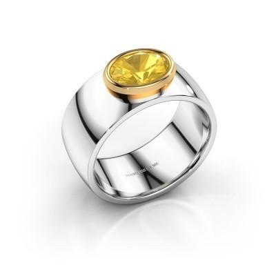 Ring Wilma 1 585 witgoud gele saffier 8x6 mm