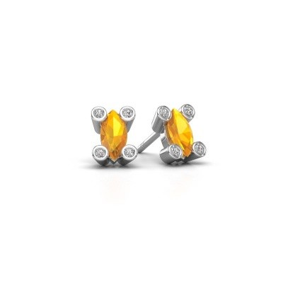 Picture of Stud earrings Cornelia Marquis 925 silver citrin 7x3 mm