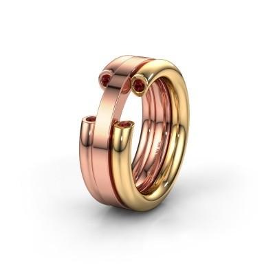 Wedding ring WH6018L 585 gold garnet ±0.31x0.12in