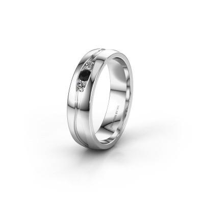 Wedding ring WH0172L25A 925 silver black diamond ±5x1.7 mm