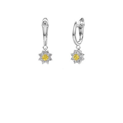 Drop earrings Camille 1 585 white gold yellow sapphire 3 mm