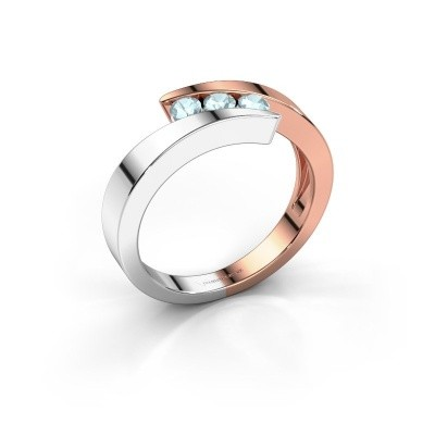 Foto van Ring Gracia 585 rosé goud aquamarijn 2.7 mm