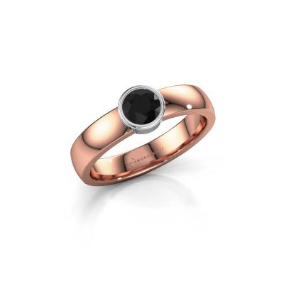 Ring Ise 1 585 rosé goud zwarte diamant 0.48 crt
