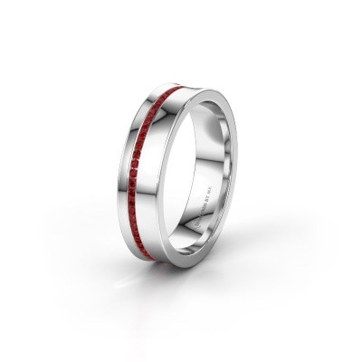 Wedding ring WH6090L55A 585 white gold ruby ±5x1.7 mm