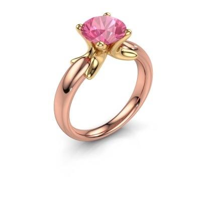 Ring Jodie 585 rosé goud roze saffier 8 mm