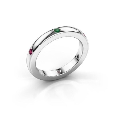 Stackable ring Charla 925 silver emerald 2 mm