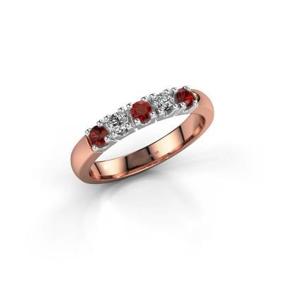 Foto van Ring Rianne 5 585 rosé goud granaat 2.7 mm