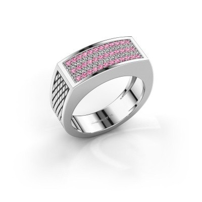 Foto van Heren ring Erwin 375 witgoud roze saffier 1.2 mm