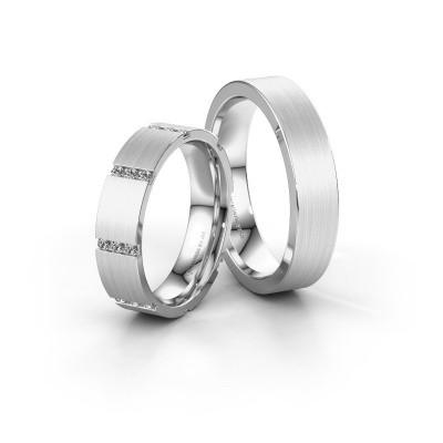 Photo de Alliances set WH0135LM15BM ±5x2 mm or blanc diamant 0.012 crt