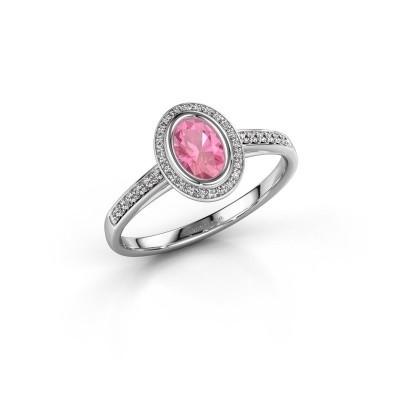 Verlovingsring Noud 2 OVL 950 platina roze saffier 6x4 mm