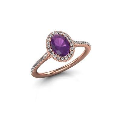Engagement ring Seline 2 585 rose gold amethyst 7x5 mm