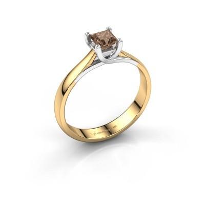 Verlobungsring Mia Square 585 Gold Braun Diamant 0.40 crt