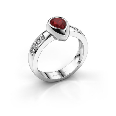 Ring Charlotte Pear 925 silver ruby 8x5 mm