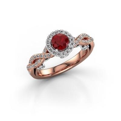 Verlovingsring Madeleine 585 rosé goud robijn 5 mm