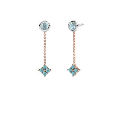 Picture of Drop earrings Ardith 585 rose gold blue topaz 2 mm