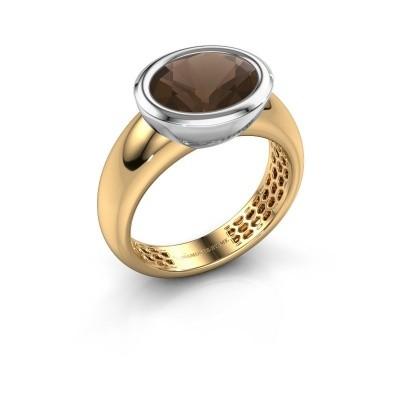 Ring Evelyne 585 goud rookkwarts 10x8 mm