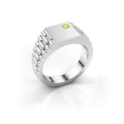 Foto van Rolex stijl ring Pelle 585 witgoud peridoot 3 mm