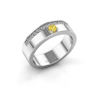 Ring Vicki 950 platina gele saffier 3 mm