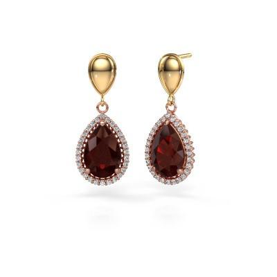 Drop earrings Cheree 1 585 rose gold garnet 12x8 mm