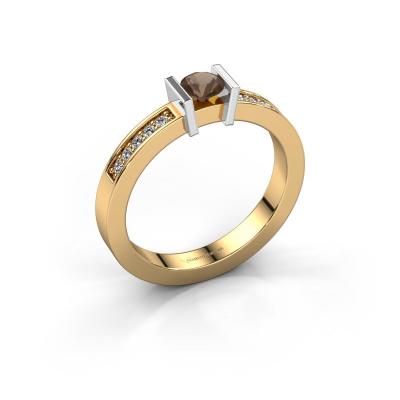 Aanzoeksring Maryam 585 goud rookkwarts 4 mm