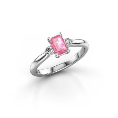 Verlovingsring Lieselot EME 950 platina roze saffier 6x4 mm