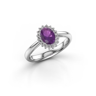 Engagement ring Tilly ovl 1 925 silver amethyst 7x5 mm