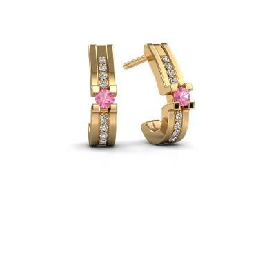 Foto van Oorbellen Myrthe 585 goud roze saffier 2.5 mm
