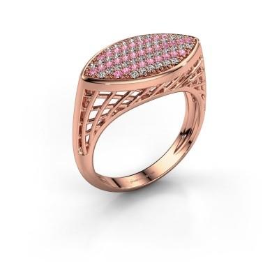 Foto van Ring Mireille 375 rosé goud roze saffier 1.1 mm