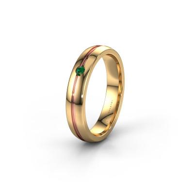 Trouwring WH0424L24A 585 goud smaragd ±4x1.7 mm
