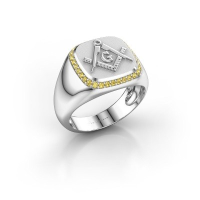 Foto van Heren ring Johan 925 zilver gele saffier 1.2 mm