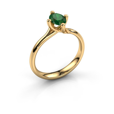 Engagement ring Dewi Oval 585 gold emerald 7x5 mm
