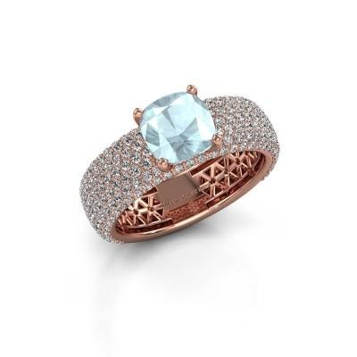 Engagement ring Darcy 375 rose gold aquamarine 7 mm