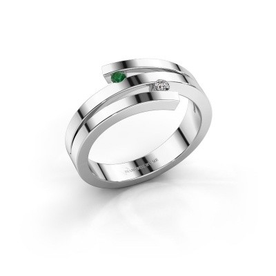 Foto van Ring Roxane 585 witgoud smaragd 2 mm