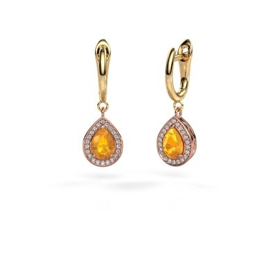 Picture of Drop earrings Ginger 1 585 rose gold citrin 7x5 mm