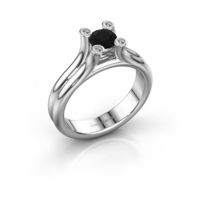 Belofte ring Stefanie 1 925 zilver zwarte diamant 0.60 crt