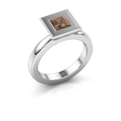 Stapelring Eloise Square 585 witgoud bruine diamant 0.78 crt